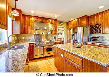 ilha, cozinha, brilhante, sala, luxo