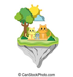 ilha, flutuador, família animal, gato