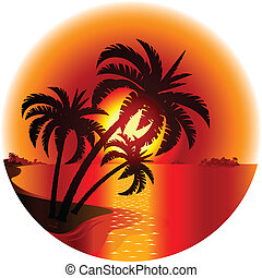 ilha, pôr do sol, tropicais
