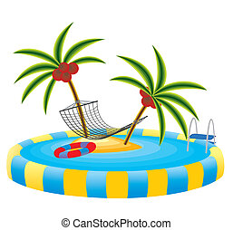 ilha tropical, piscina exterior
