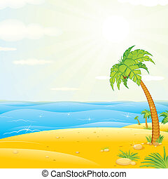 ilha tropical, praia., vetorial, ilustração