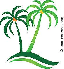 ilha tropical, vetorial, logotipo
