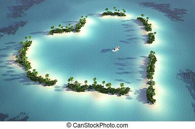 ilha, vista, aéreo, heart-shaped