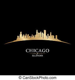 illinois, chicago, experiência preta, skyline, cidade, silueta