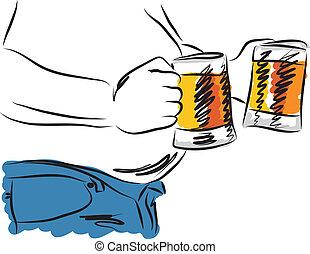 illust, cerveja, homem, bebendo, barriga