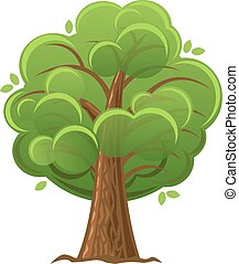 illustration., árvore, árvore carvalho, vetorial, verde, foliage., caricatura, luxuriant