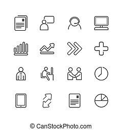 illustration., ícones negócio, set., vetorial, linha