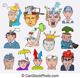 illustration., ícones, pessoas, criativo, vetorial, desenho, caráteres, conceitos