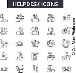illustration:, ajuda, helpdesk, jogo, sinais, esboço, conceito, comunicação, telefone, apoio, vector., linha, serviço, cliente, chamada, ícones, helpdesk