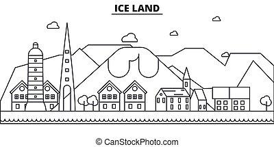 illustration., cityscape, vistas, marcos, vetorial, golpes, famosos, desenho, linha, arquitetura, skyline, cidade, linear, editable, islândia, icons.