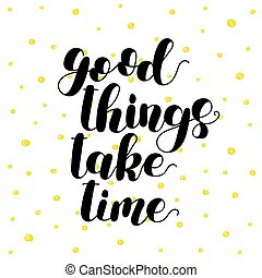 illustration., coisas, time., lettering, tomar, bom