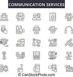illustration:, comunicação, telefone, jogo, esboço, conceito, comunicação, contato, apoio, vector., tecnologia, linha, serviço, cliente, negócio, sinais, ícones, serviços