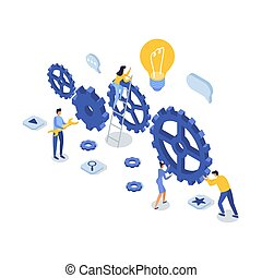 illustration., concept., isometric, vetorial, apoio, cliente