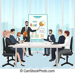 illustration., escritório, guiando, apresentação, gerente, vetorial, homem negócios, durante, reunião