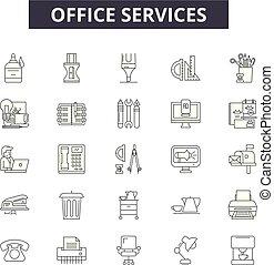 illustration:, headcommunication, jogo, esboço, escritório, conceito, telefone, apoio, vector., escritório, cliente, linha, serviço, chamada, sinais, ícones, serviços