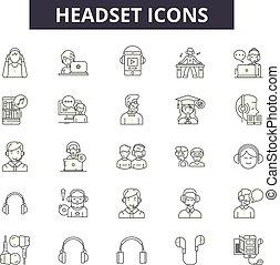 illustration:, headset, jogo, telefone, esboço, conceito, apoio, vector., operador, ícones, linha, serviço, cliente, sinais, headcall