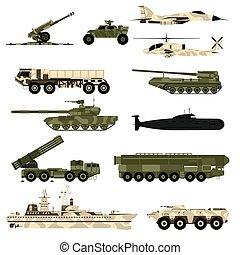illustration., jogo, ícone, vetorial, tanques, apartamento, armadura, militar, technic