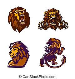 illustration., jogo, leão, vetorial, logotipo, mascote