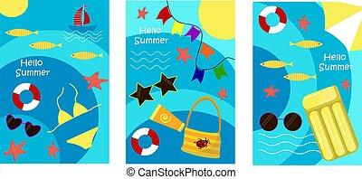 illustration., jogo, mar, postais