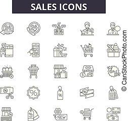 illustration:, jogo, teia, esboço, conceito, vendas, venda, apoio, vector., consultores, linha, serviço, negócio, sinais, ícones