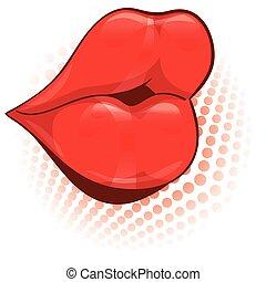 illustration., lábios, vetorial, femininas, excitado, vermelho