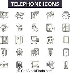 illustration:, móvel, jogo telefone, telefone, telefone, esboço, conceito, comunicação, contato, apoio, vector., linha, chamada, sinais, ícones