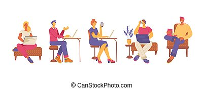 illustration., ou, abertos, centro, coworking, vetorial, pessoas, workspace, apartamento, escritório