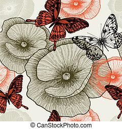 illustration., padrão, seamless, vetorial, papoulas, floral, butterflies.
