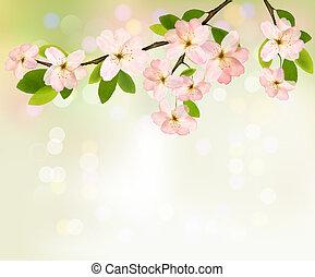 illustration., primavera, florescer, árvore, flowers., vetorial, fundo, brunch
