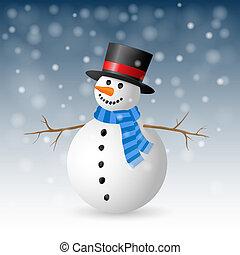 illustration., saudação, snowman., vetorial, cartão natal