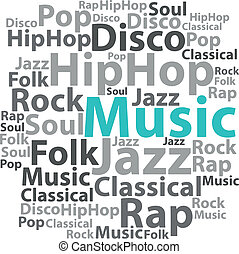 illustration., texto, concept., tag, vetorial, música, wordcloud., cloud.