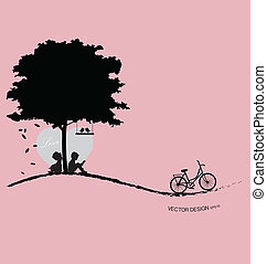 illustration., valentine, valentine, day., árvore, vetorial, fundo, pássaro, sunset.