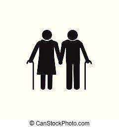 illustration., vetorial, experiência., mulher, antigas, design., branca, apartamento, homem, cane., cinzento