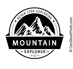 illustration., vetorial, logotipo, aventura, emblem., retro, montanha