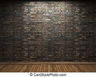 iluminado, parede, tijolo
