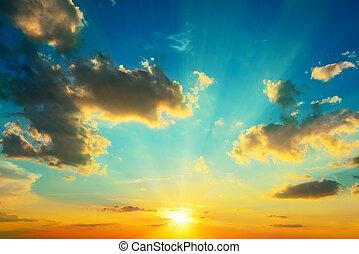 iluminado, sunlight., nuvens, sunset.