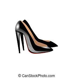 ilustração, alto, vetorial, sapato preto, calcanhares, realismo