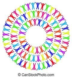 ilustração, ao redor, pessoas, mundo, coloridos, vetorial