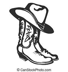 ilustração, branca, gráfico, vetorial, hat., isolado, boiadeiro, desenho, botas