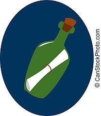 ilustração, branca, vetorial, experiência., nota, garrafa
