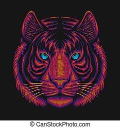 ilustração, cabeça, tiger, vetorial