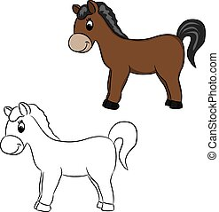 ilustração, cavalo, -, vetorial, caricatura