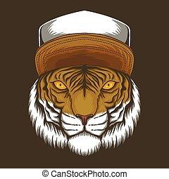 ilustração, chapéu, tiger, vetorial