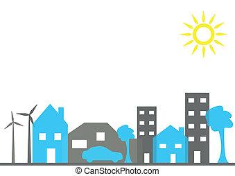 ilustração, cidade