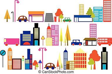 ilustração, cidade, vetorial