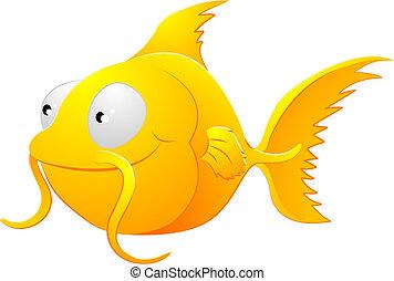ilustração, clipart, goldfish