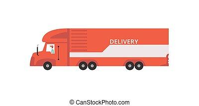 ilustração, conceito, semi, entrega rápida, vetorial, despacho, fundo, caminhão, branca, reboque, vermelho