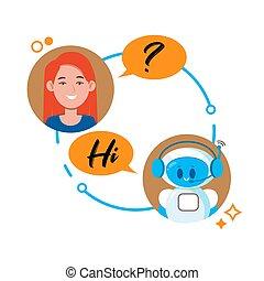 ilustração, conversa, concept., conversando, aplicação, vetorial, chatbot, local, mulher, personagem, móvel, bot., robô, bandeiras, teia, caricatura, apartamento, cute