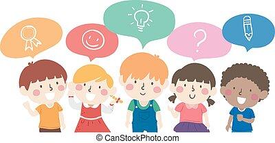 ilustração, crianças, conversa, outro, cada