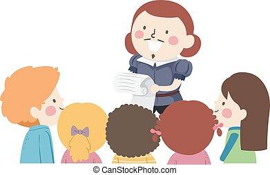 ilustração, crianças, escutar, poesia
